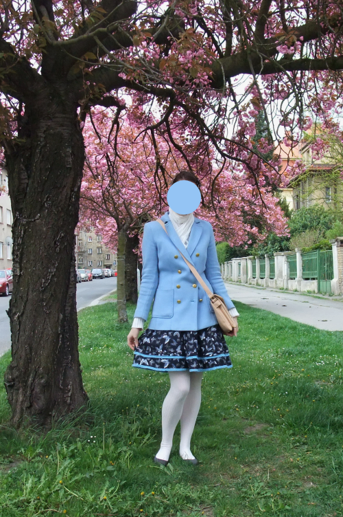 lolita, Japan, cherry blossoms, baby blue, butterfly, CCC, H&M