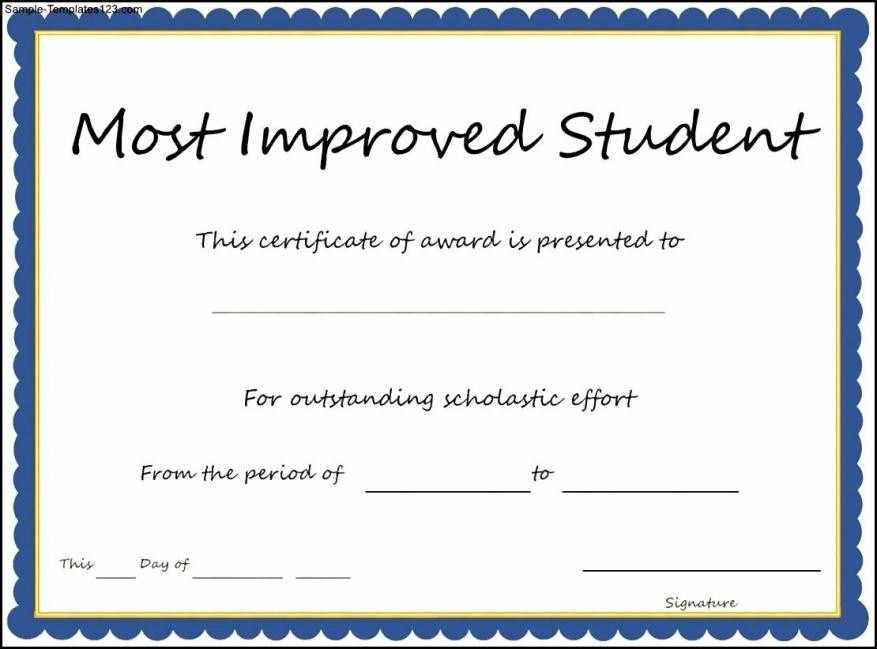 most improved certificates