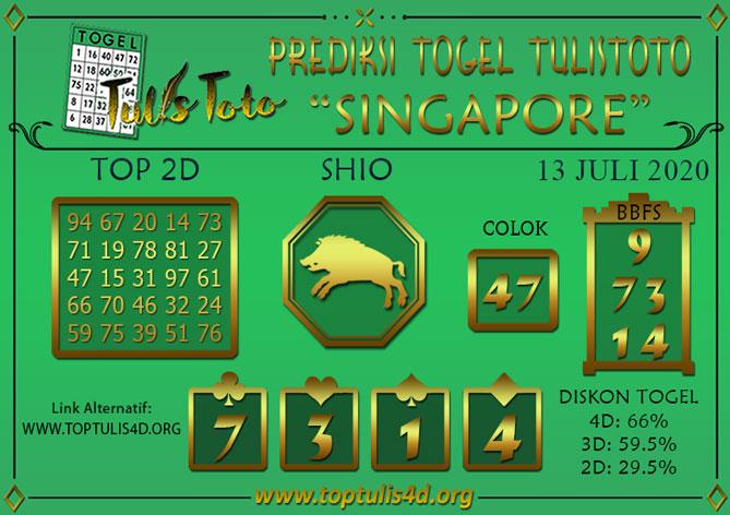 Prediksi Togel SINGAPORE TULISTOTO 13 JULI 2020
