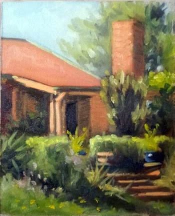 Oil painting of a apricot-coloured weatherboard house with a red roof and a chimney surrounded by garden, with steps leading down to the lower right corner of the image.