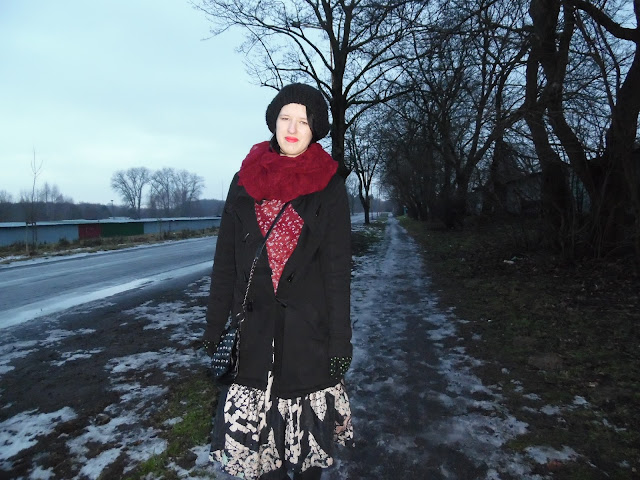 PATTERNS, BLACK COAT, CAP, BURGUNDY SCARF AND A BLOUSE, DRESS AS A SKIRT