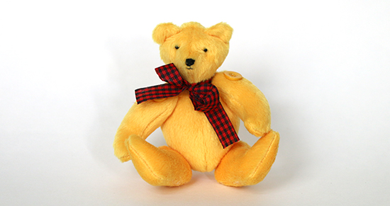 Hand Sewn Yellow Teddy Bear with Plaid Ribbon Bow from a Kit