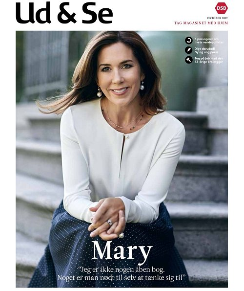 Crown Princess Mary gave an interview for Ud & Se magazine. Princess Mary wore skirt, Prada bag, Jesper Høvring dress