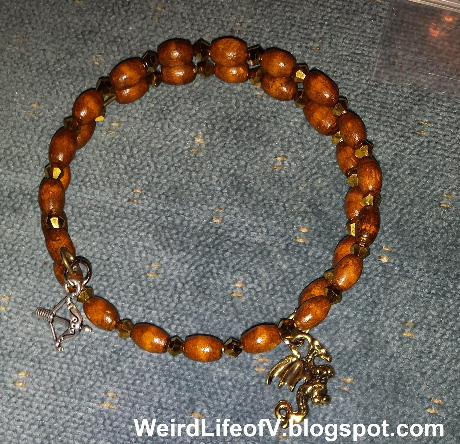 The Hobbit inspired memory wire beaded bracelet