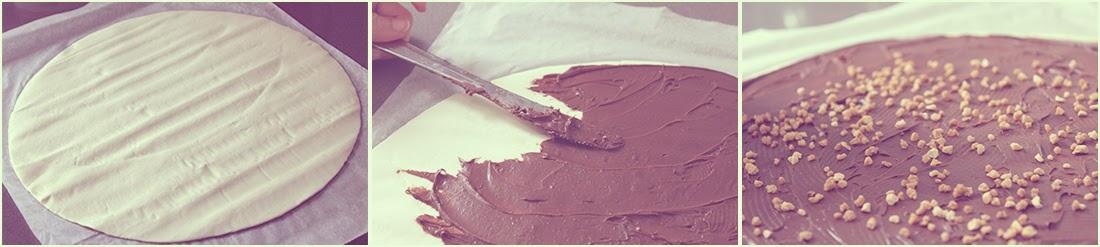 Tarta estrella de hojaldre y crema de cacao