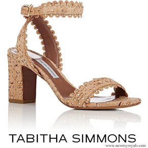 Queen Maxima wore Tabitha Simmons Leticia perforated cork and leather sandals