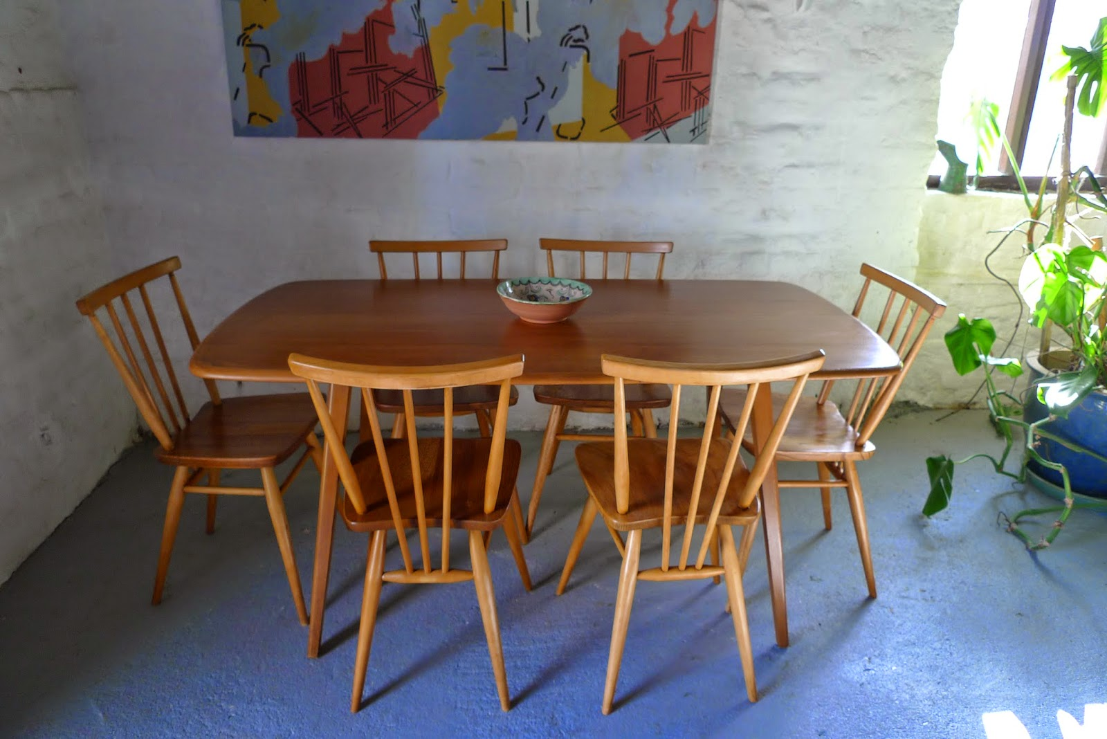 RetroKate: Ercol Plank Dining Table and 6 x Stick back Chairs