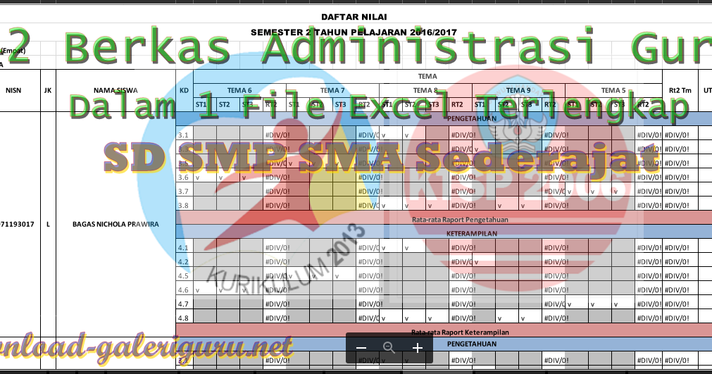 42 Berkas Administrasi Guru Dalam 1 File Excel Terlengkap