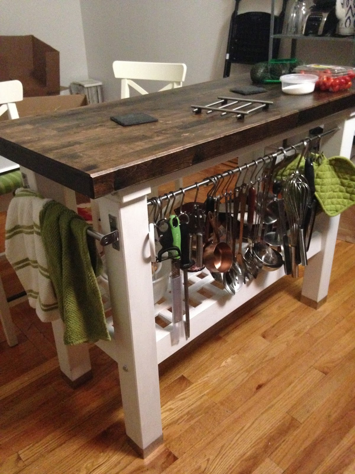Bake and Baste How to Stain and Finish a Rustic Kitchen Island IKEA GROLAND