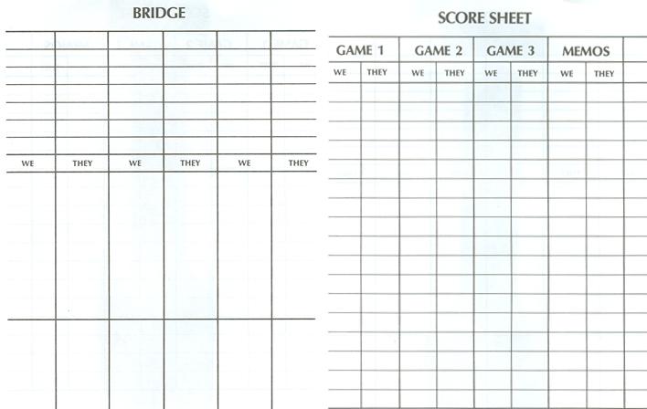 Bridge Workout Pics Bridge Score Pads