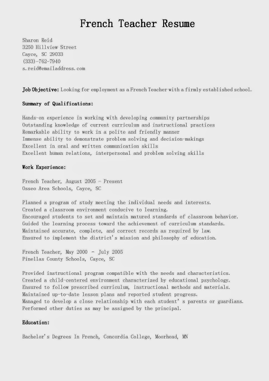 resume samples  french teacher resume sample