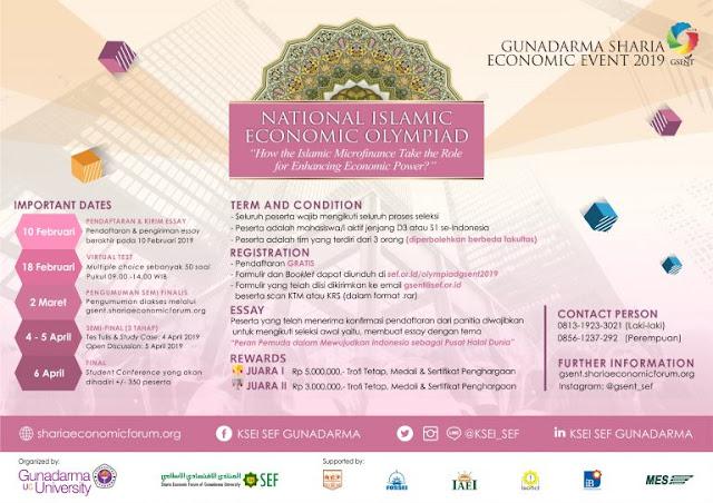 Lomba Essay National Islamic Economic Olympiad GSENT 2019 Mahasiswa Gratis