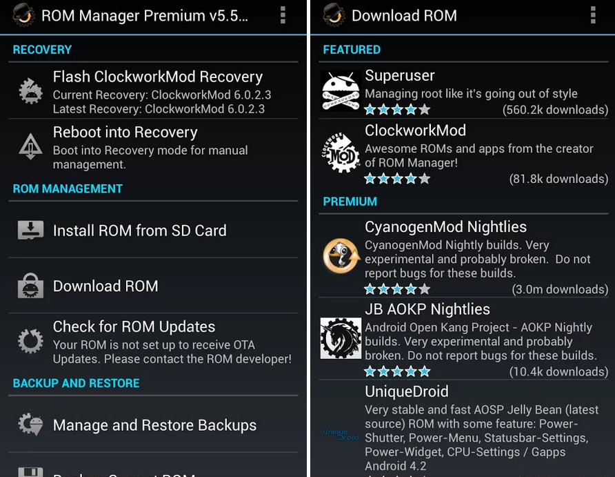 ROM Manager APK Download