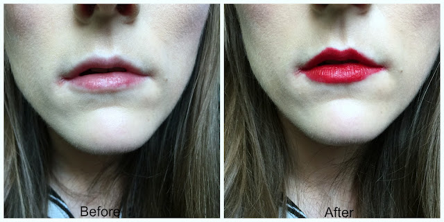 before and after maybelline color drama lip crayon in light it up 520