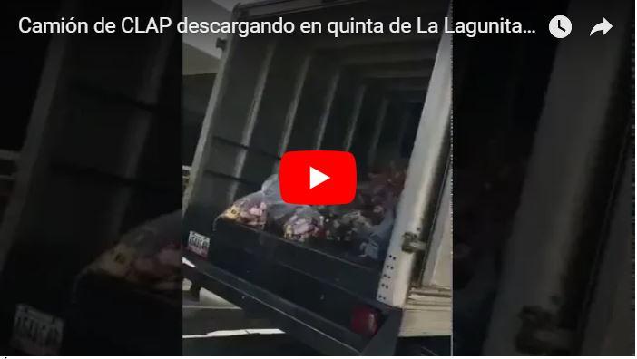 Camión repleto de bolsas CLAP descargó todo en una quinta de La Lagunita