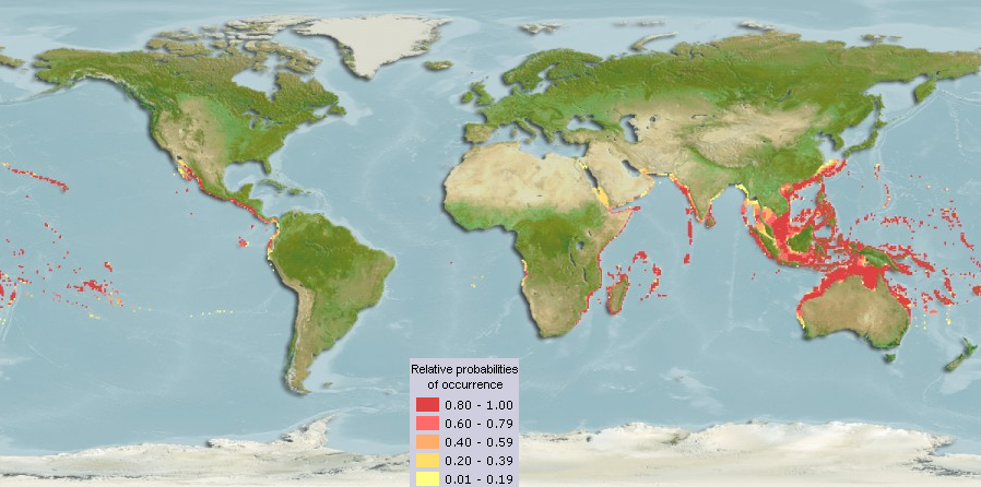 Map showing the distribution of the yellow box fish (Ostracion cubicus) Distribution