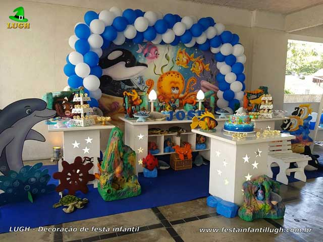 Tema Fundo do Mar, Mesa decorada do bolo, festa aniversário infantil