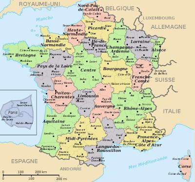kaart frankrijk departementen Kaart Frankrijk Departementen Regio's: Kaart departementen