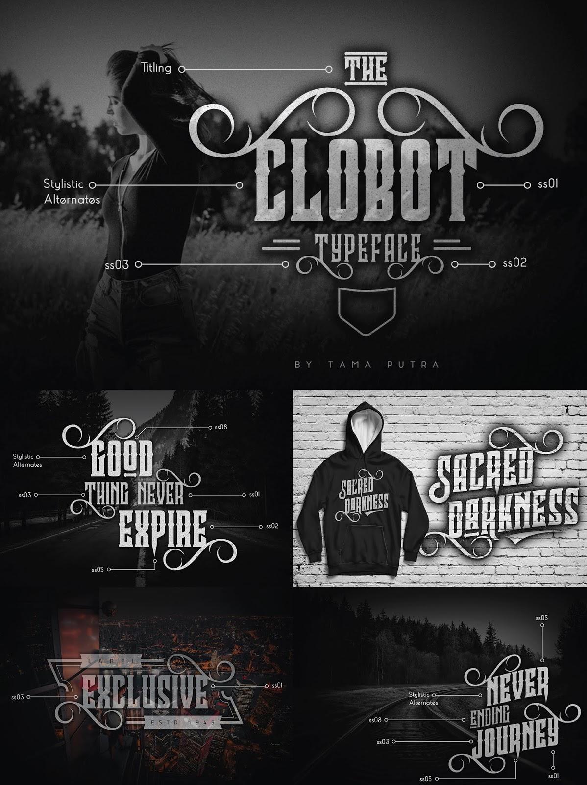 font, typeface, clobot, decorative, serif, victorian