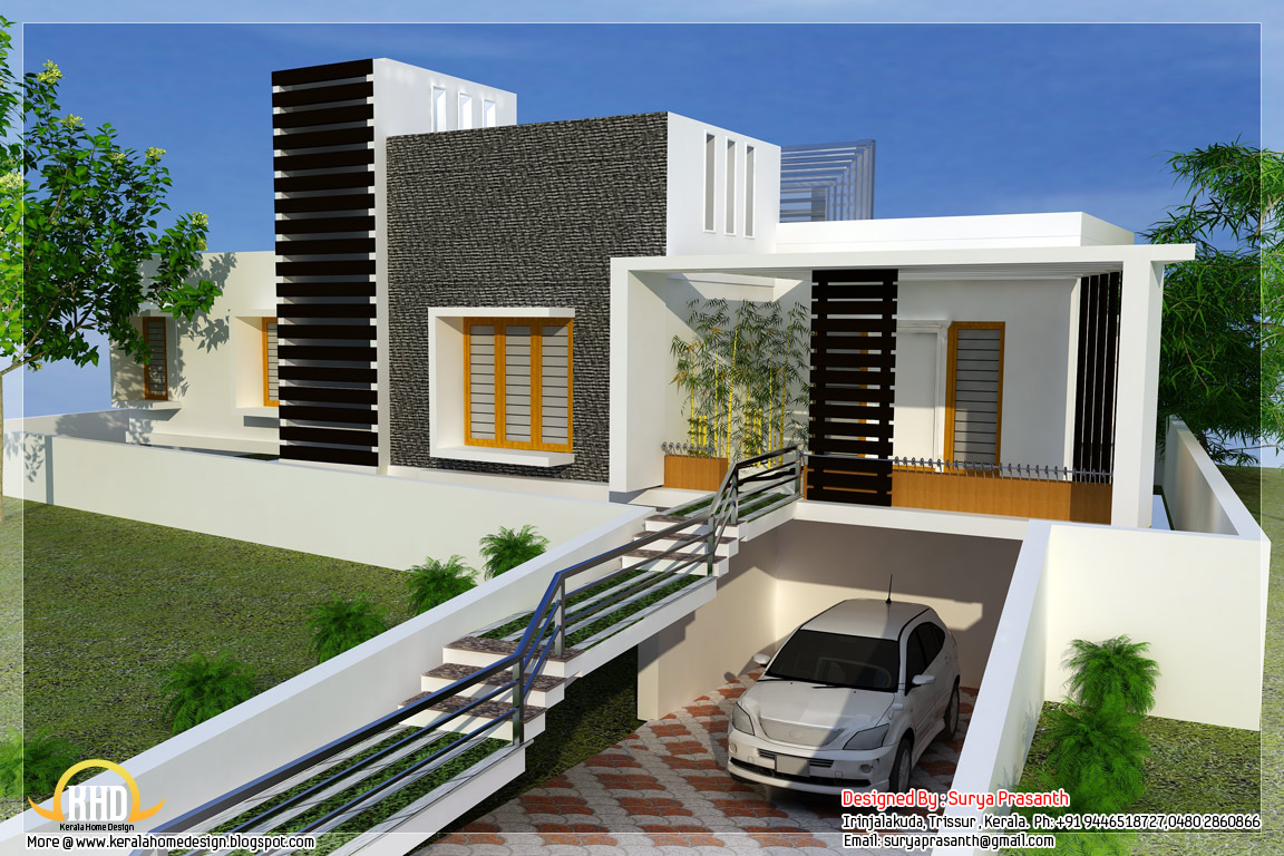 New contemporary mix modern home designs kerala home Modern home plans with basement