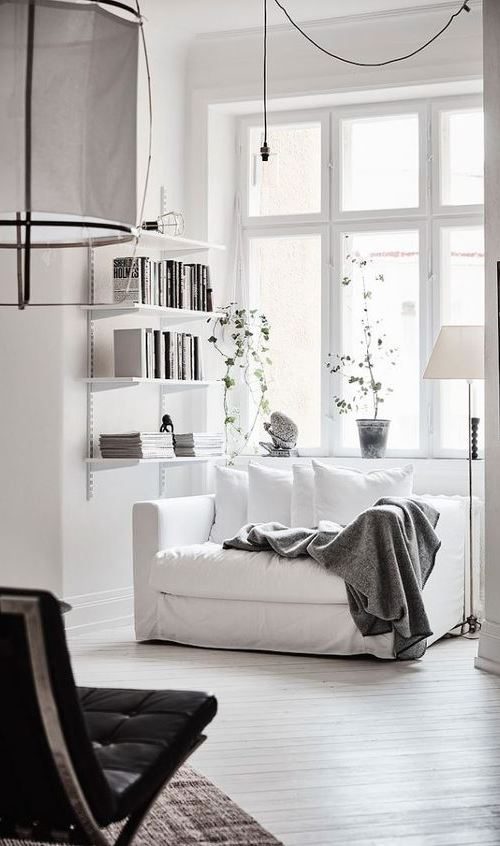 Spacious White Scandinavian Apartment With Black Details