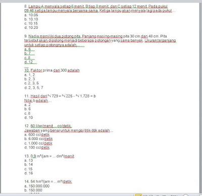 Soal Dan Kunci Jawaban Uts Pts Matematika Kelas 6 Semester 1 Ganjil Sd Guru Jumi