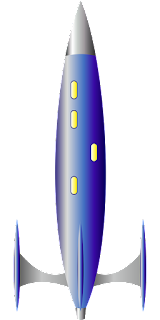 A rocket as typically depicted in 1950s science fiction.
