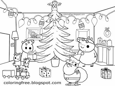 Happy kids drawing merry family party Peppa pig Christmas coloring pages tree decoration main room