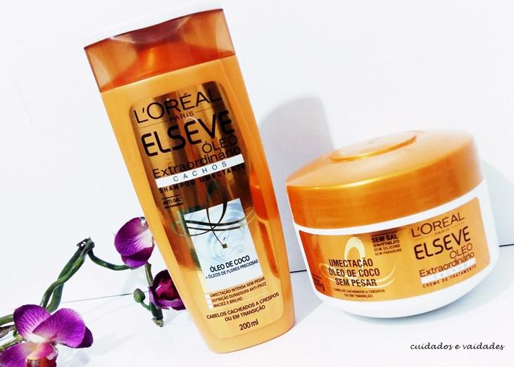 Shampoo e Máscara Elseve Óleo Extraordinário Cachos No Poo, Low Poo e Cowash