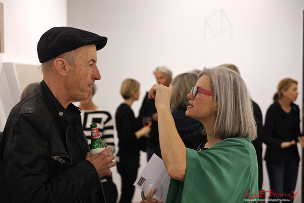 PJ Hickman and Annelies Jahn in conversation.at LINE AND SPACE: Crawford gallery opening night, Photo by Kent Johnson.