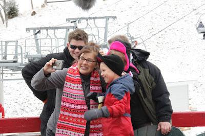 Gil and Kelly Bates, Nathan Bates, Judson Bates, Callie Bates skiing