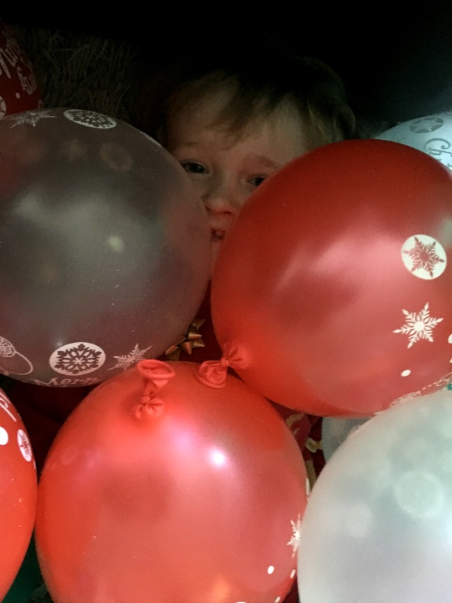 Bears-Boxing-day-christmas-toddler-peeping-through-pile-of-balloons