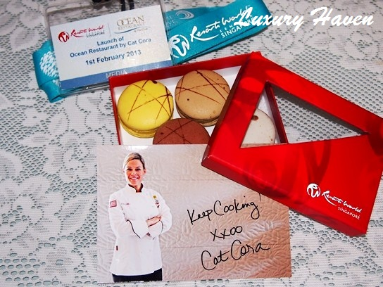 rws cat cora ocean restaurant media goodie bag