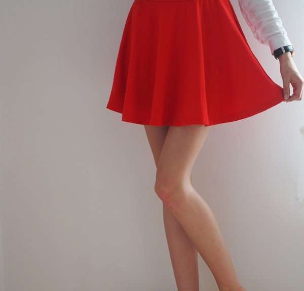 red sweet skirt, cool, amazing legs