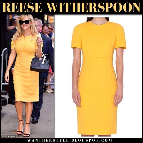 Reese Witherspoon in yellow sheath dress akris celebrity style september 17