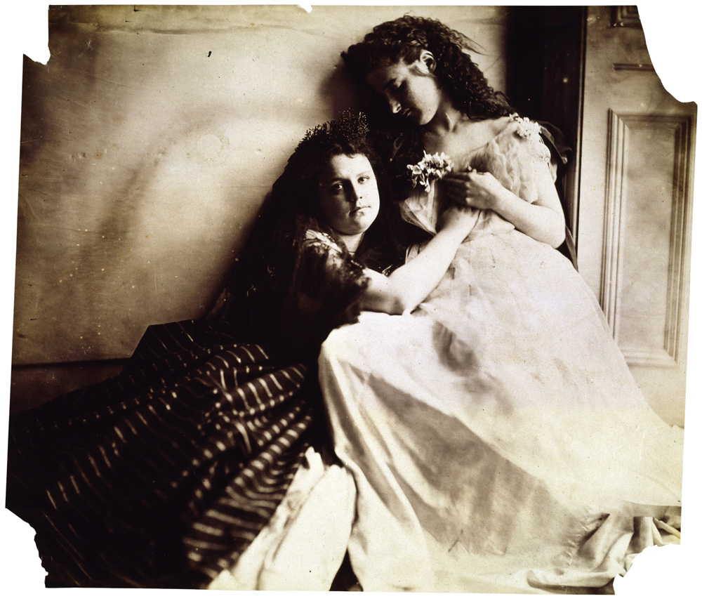 Photographic Study (Florence Elizabeth and Clementina Maude) by Clementina Hawarden - Victorian Giants exhibition, National Portrait Gallery, London