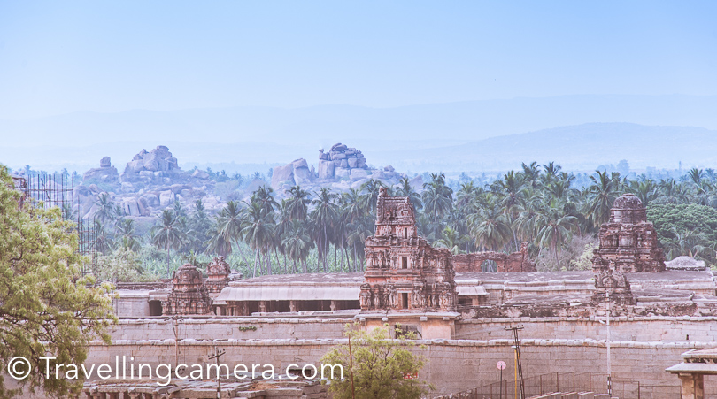 After spending some time around Lakshmi Narsimha Temple, we walked around the beautiful hill with huge rocks and ancient temples. Above is one of the views from this hill and Virupaksha temple is exactly opposite to this place.