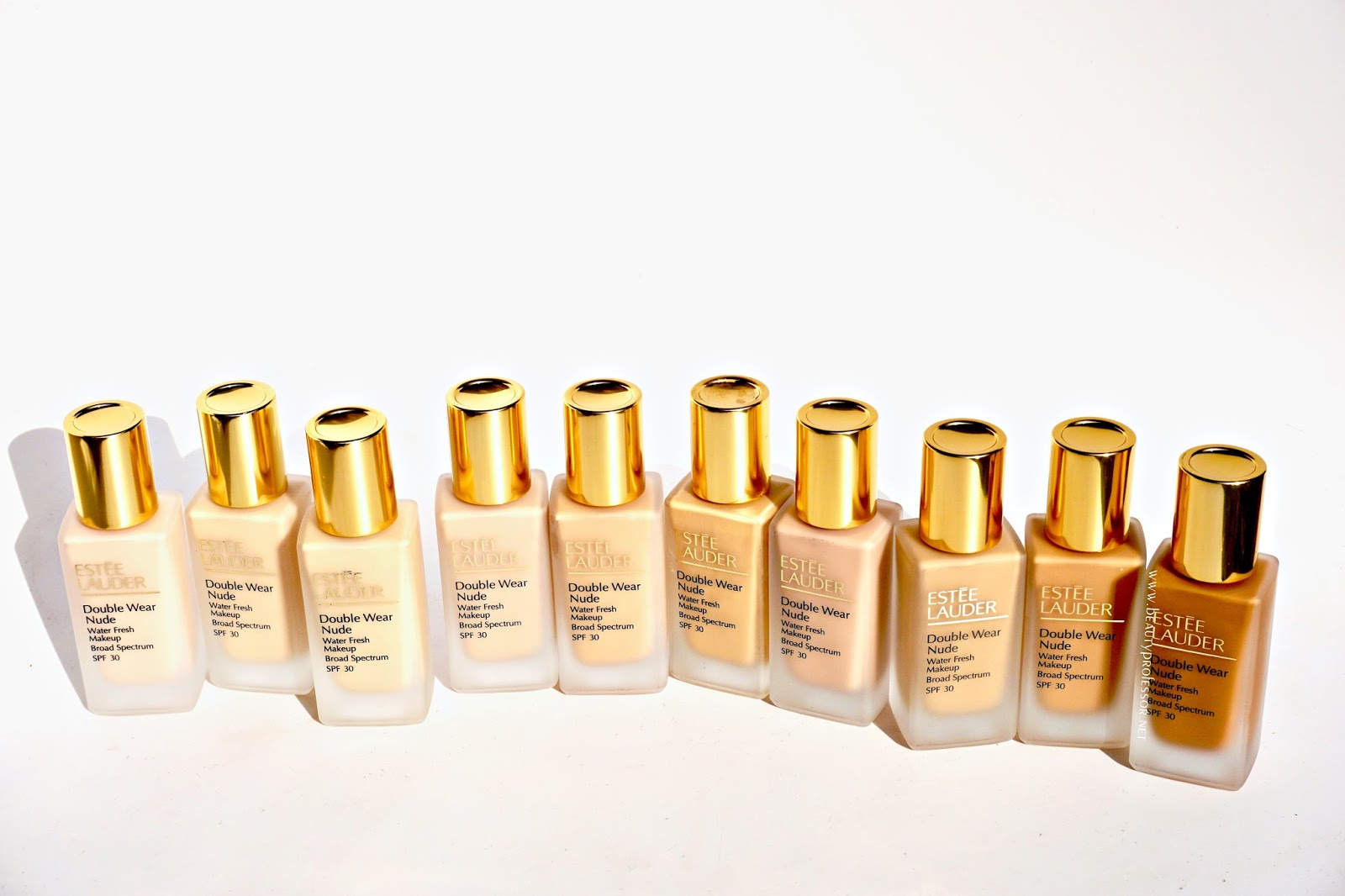 Estee Lauder Double Wear Nude Water Fresh Foundation swatches