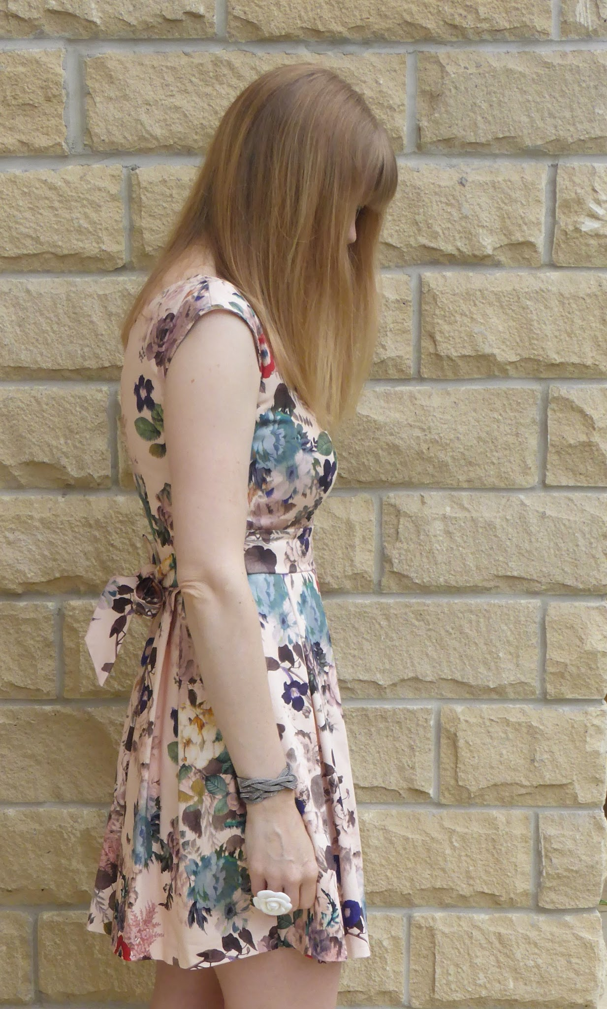 Over 40s blogger What Lizzy Loves wears Closet floral skater dress with sandals