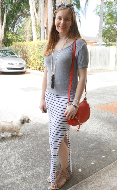 asos forever new grey tee stripe maxi skirt red bag with neutral outfit | away From the Blue