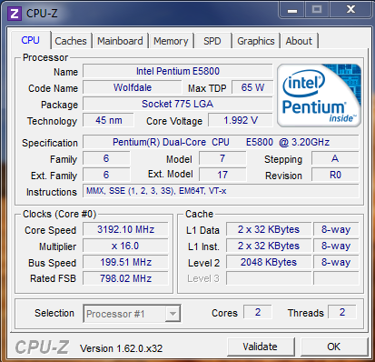 CPU-z Version 1.62.0