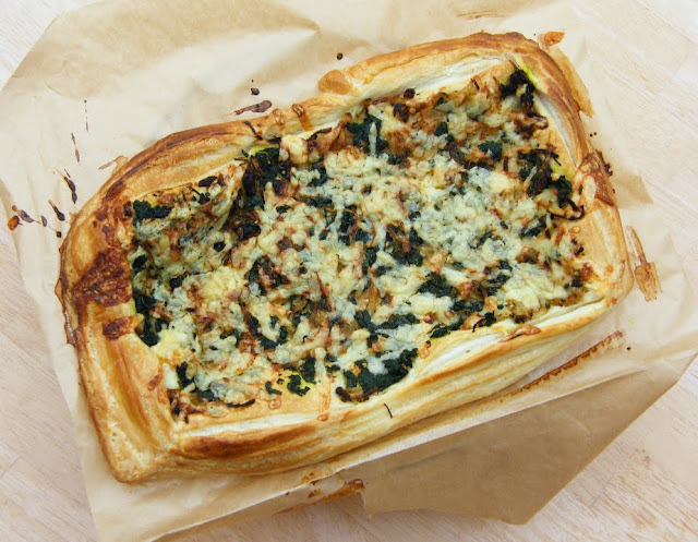 Vegan Spinach & Onion Puff Tart
