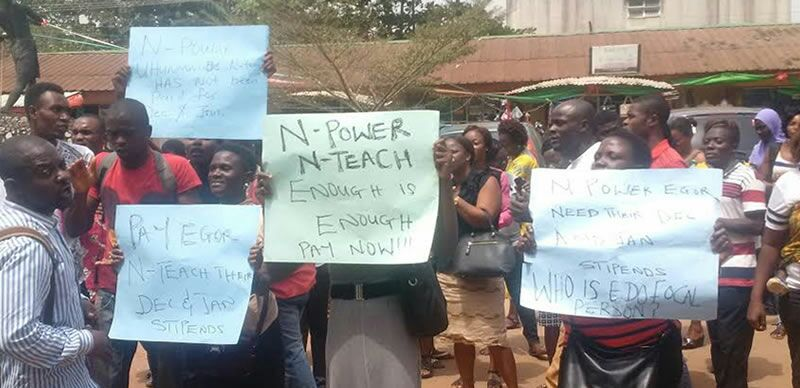 Protest over failure to pay N-power stipends   Free Sowore Now!