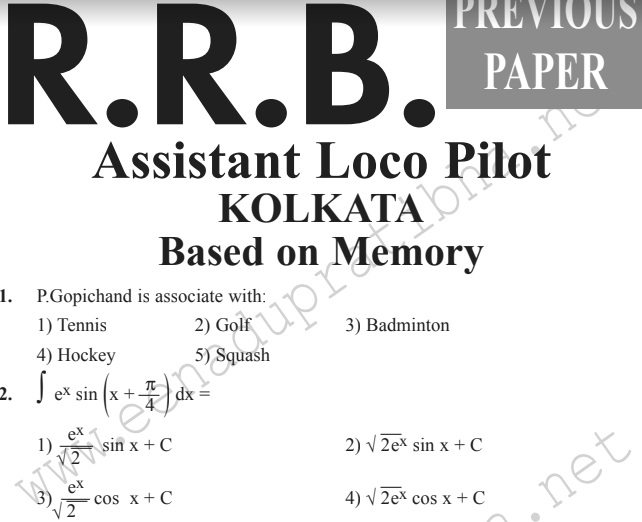 Rrb Solved Paper In Hindi Pdf
