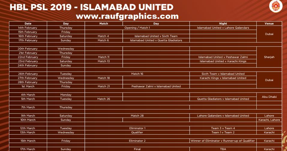 Islamabad United Hbl Psl 2019 psl 4 schedule squad 2019