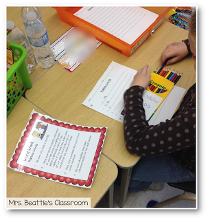 Photo of student working on rainbow words center.