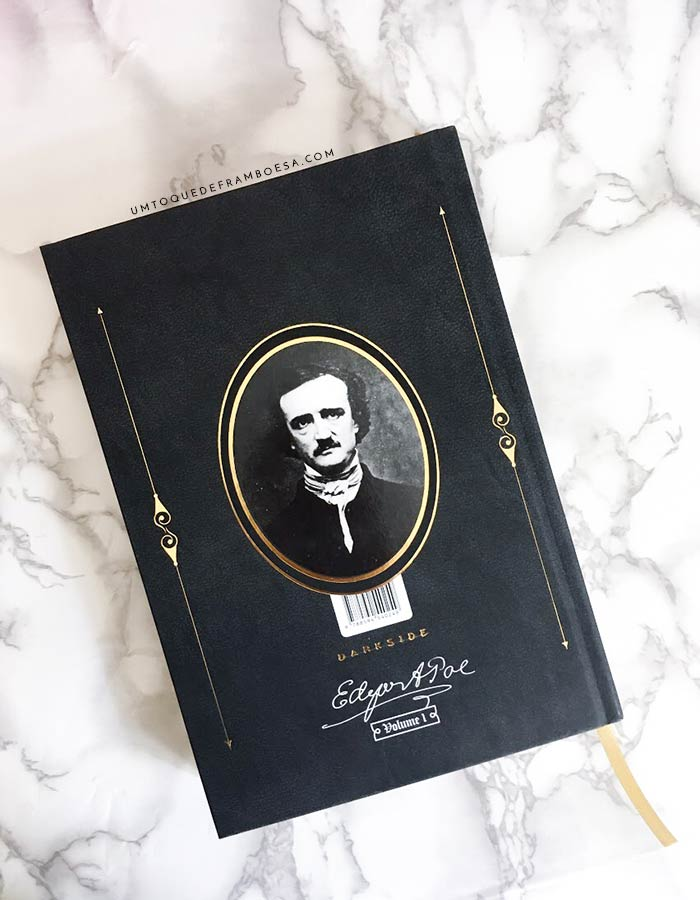 Contracapa do livro Edgar Allan Poe, editado no Brasil pela Editora Darkside; esta edição é a reunião de alguns dos mais famosos contos do grande escritor de terror e mistério Edgar Allan Poe, cuja foto está na contracapa