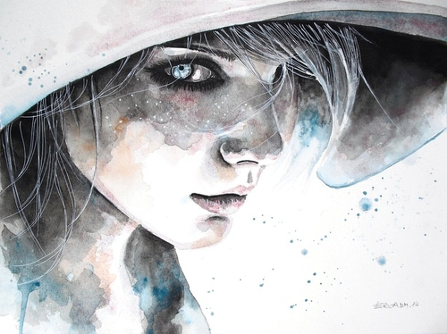 15-Hungry Eyes-Erica-Dal-Maso-Expressing-Emotions-Through-Watercolor-Paintings-www-designstack-co