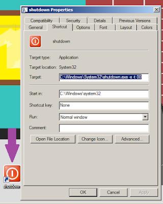 Tampilan Shortcut Shut Down Setelah Dipasang Icon
