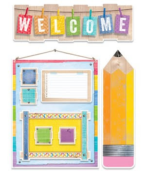 CTP Upcycle Style Welcome to School Bulletin Board Set CTP 7054